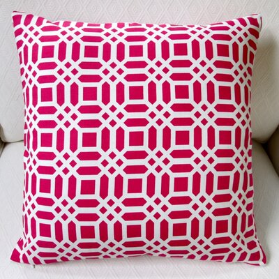 Vivid Lattice Indoor Cotton Throw Pillow Color: Fuchsia/Hot Pink