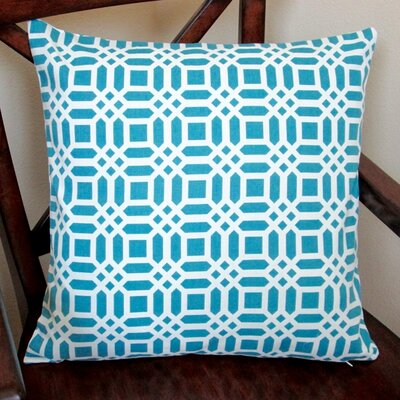 Vivid Lattice Indoor Cotton Throw Pillow Color: Teal Blue