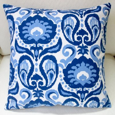 Grand Ikat Floral Modern Indoor Pillow Cover Color: Blue