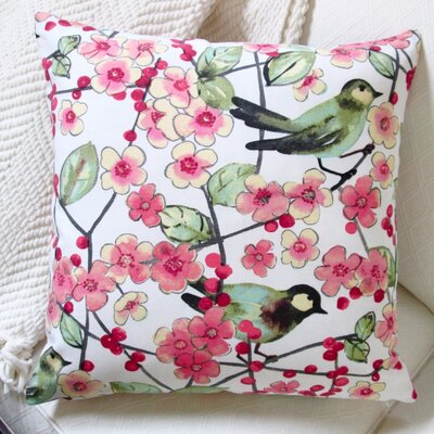 In the Air Songbird and Cherry Blossom Modern Indoor Pillow Cover Color: Green/Pink/Off-White