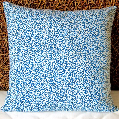 Coral Reef Curl Surf in Modern Coastal Beach Indoor Cotton Throw Pillow Color: Blue