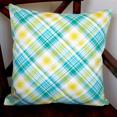 Notting Hill Plaid Tartan Indoor Cotton Throw Pillow Color: Aquamarine