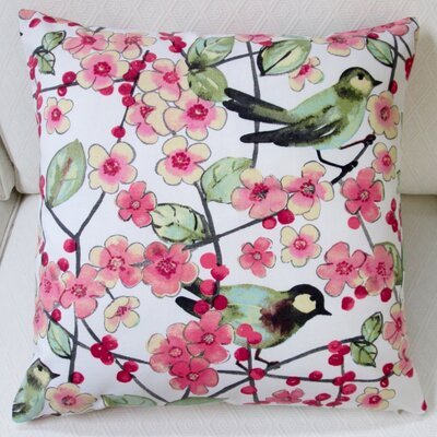 In the Air Songbird and Cherry Blossom Indoor Cotton Throw Pillow