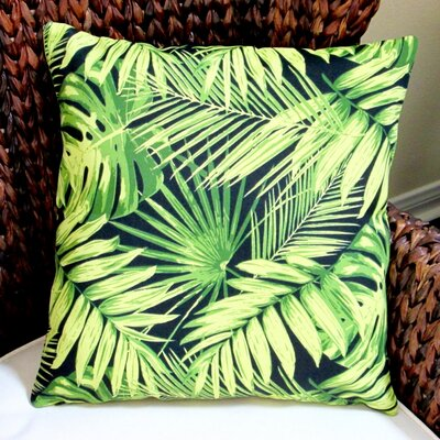 Tropical Fronds in Modern Coastal Beach Hawaiian Indoor/Outdoor Throw Pillow Color: Black