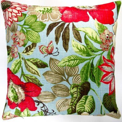 Butterfly Garden Flowers in Modern Cottage Floral Indoor Cotton Throw Pillow
