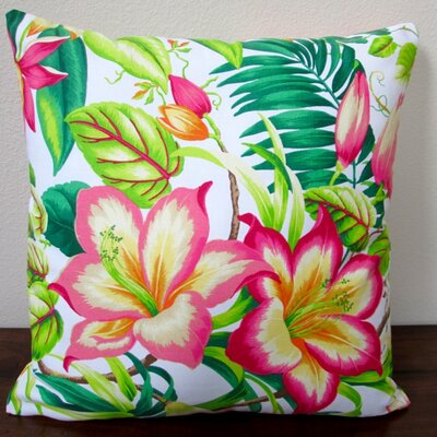 Botanical Glow Tangelo Tropical Hibiscus Indoor Cotton Throw Pillow