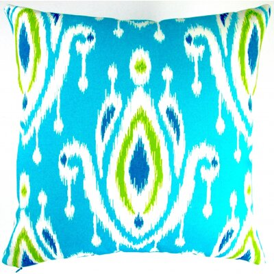 Peacock Modern Geometric Ikat Indoor/Outdoor Throw Pillow