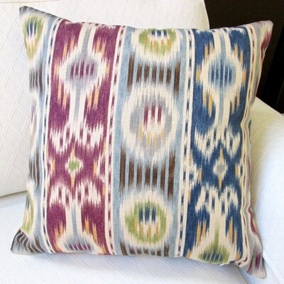 Ikat Striped Abstract Stripe Modern Geometric Indoor Cotton Throw Pillow