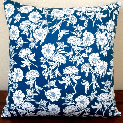 Peony Flowers Sateen Indoor Sateen Cotton Throw Pillow