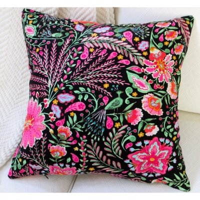Peackock Garden Flowers Modern Cottage Floral Indoor Cotton Throw Pillow