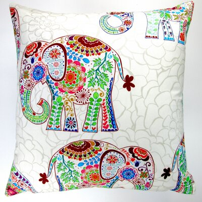 Kids Nursery Elephants Indoor Cotton Throw Pillow
