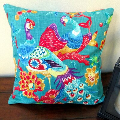 Vintage Peacock in Modern Asian Cottage Indoor Cotton Throw Pillow