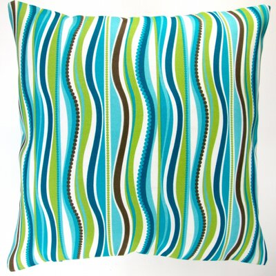 Wave Stripe Caribbean Beach House Modern Indoor/Outdoor Throw Pillow
