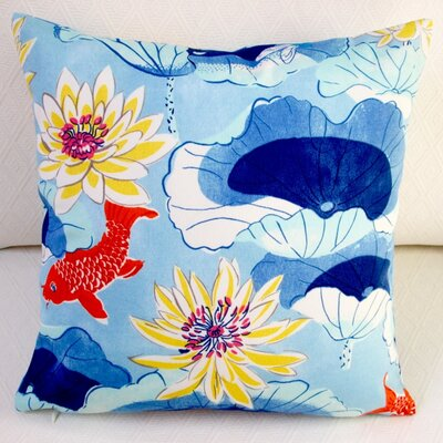 Lotus Lake Koi Fish Cobalt/Modern Animal Outdoor Throw Pillow