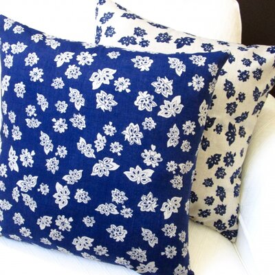 Tossed Flowers Linen Reversible Modern Linen Throw Pillow