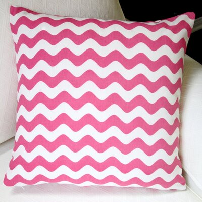 Wave Indoor Cotton Canvas Pillow Cover Color: Pink