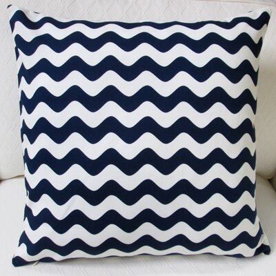 Wave Indoor Cotton Canvas Throw Pillow Color: Navy Blue