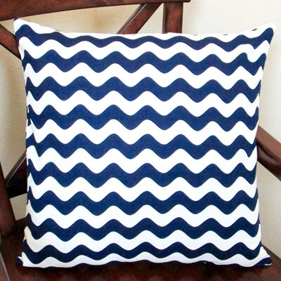 Wave Indoor Cotton Canvas Pillow Cover Color: Navy Blue