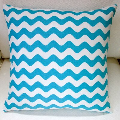 Wave Indoor Cotton Canvas Pillow Cover Color: Aqua