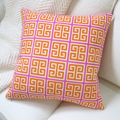 Greek Key Modern Geometric Cotton Pillow Cover Color: Orange/Pink