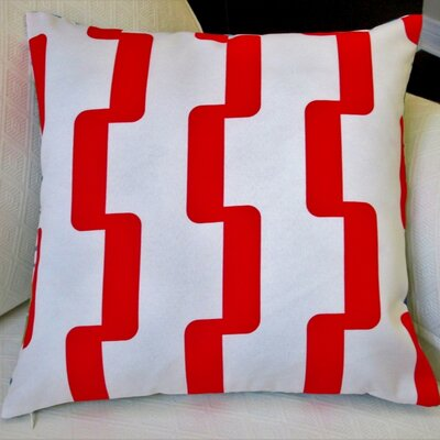 Rhyme Modern Geometric Outdoor Throw Pillow Color: Red