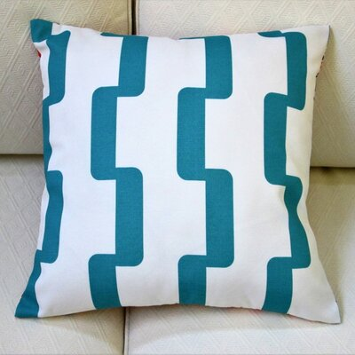 Geometric Stripe Indoor/Outdoor Pillow Cover Color: Blue