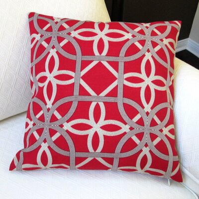 Keene Modern Coastal Outdoor Throw Pillow Color: Cherry