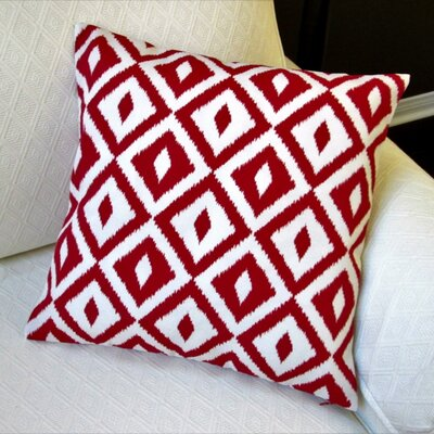 Image of Coastal Geometric Modern Indoor/Outdoor Throw Pillow Color: Red Modern