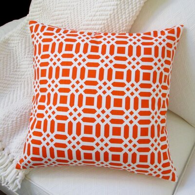 Vivid Lattice Cotton Pillow Cover Color: Orange