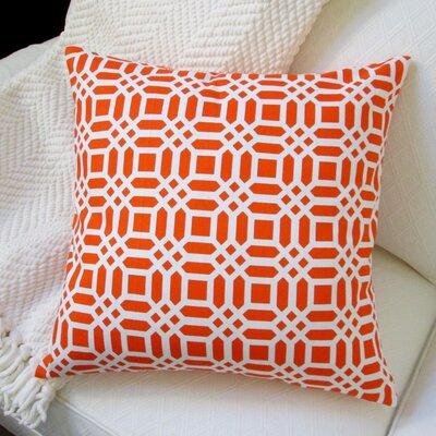 Vivid Lattice Cotton Pillow Cover Color: Orange
