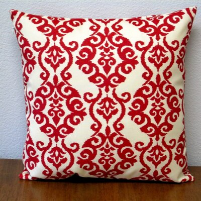 Damask Modern Geometric Outdoor Pillow Cover Color: Red/Off-White