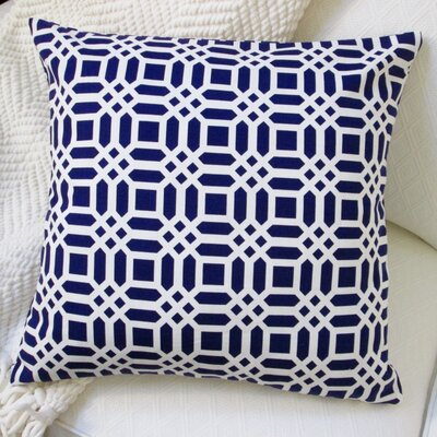 Vivid Lattice Cotton Pillow Cover Color: Navy
