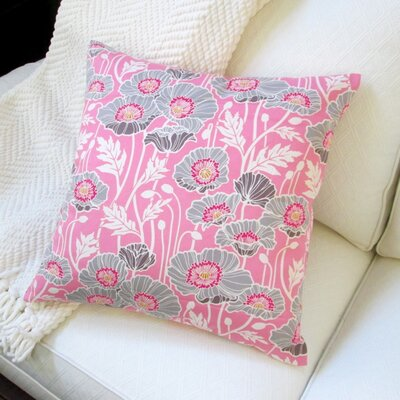 Pristine Poppy Cotton Pillow Cover Color: Pink