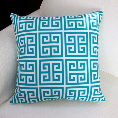 Greek Key Outdoor Throw Pillow Color: Blue