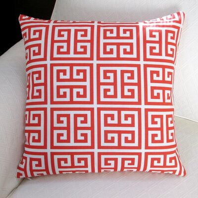 Greek Key Outdoor Throw Pillow Color: Orange
