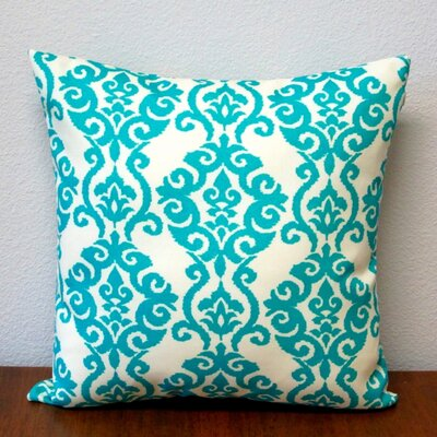 Damask Modern Geometric Outdoor Pillow Cover Color: Turquoise/Ivory