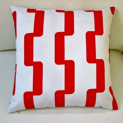 Geometric Stripe Indoor/Outdoor Pillow Cover Color: Red