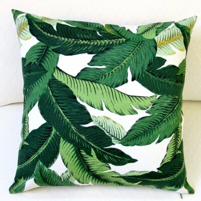 Emerald Tropical Palm Leaf Indoor/Outdoor Throw Pillow