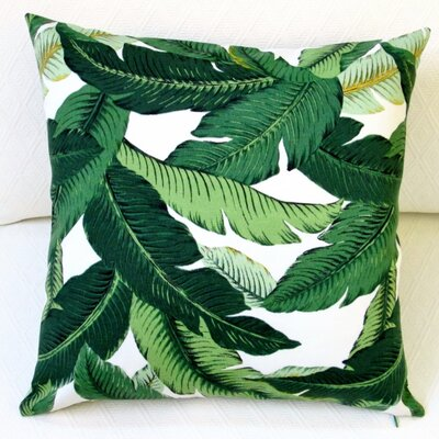 Island Hopping Emerald Tropical Palm Leaf Outdoor Pillow Cover