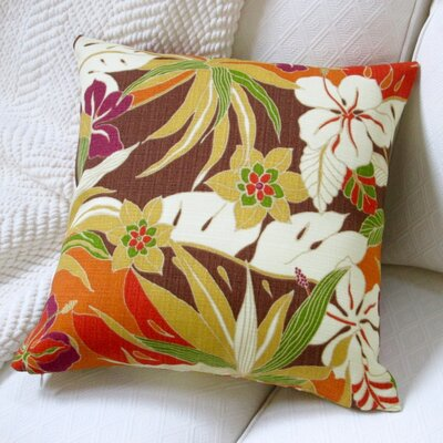 Hibiscus Glow Henna Tropical Island Indoor/Outdoor Throw Pillow