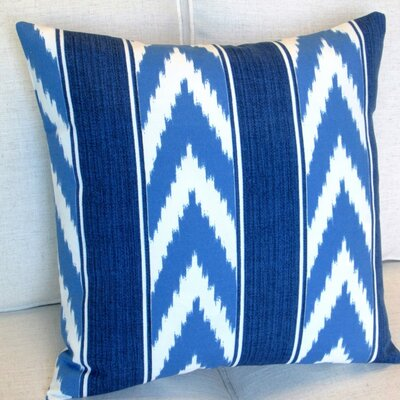 Ikat Stripe Cornflower Outdoor Throw Pillow