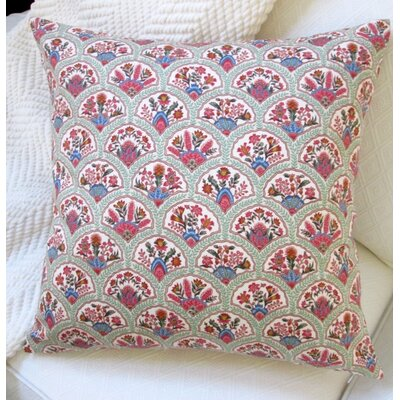 Oriental Hand Fan Traditional Cotton Pillow Cover