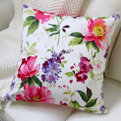 Watercolor Blossom Cotton Throw Pillow
