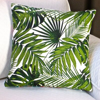 Tropical Botanic Palm Leaf Cotton Throw Pillow