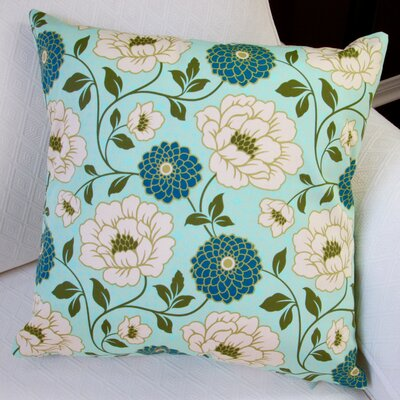 Bungalow Dahlia Flowers Modern Indoor Cotton Throw Pillow Color: Forest Blue