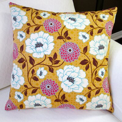 Bungalow Dahlia Flowers Modern Indoor Cotton Throw Pillow Color: Honey Orange
