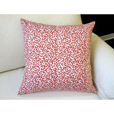 Coral Reef Curl Surf in Modern Coastal Beach Indoor Cotton Pillow Cover Color: Orange
