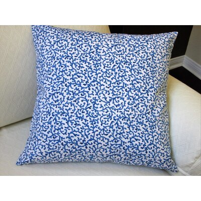 Coral Reef Curl Surf in Modern Coastal Beach Indoor Cotton Pillow Cover Color: Blue