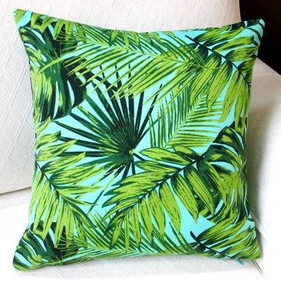 Tropical Fronds in Modern Coastal Beach Hawaiian Indoor/Outdoor Throw Pillow Color: Blue