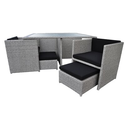 Stella 9 Piece Dining Set with Cushions Finish: Cement Gray, Cushion Color: Black